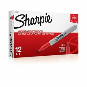 Sharpie Permanent Marker Fine Point 12 Pens pack Red San 30002