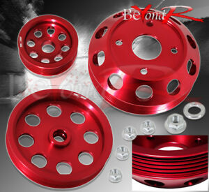 Red Under Drive Crank Pulley Kit Racing High Performance For 240Sx S14 S15 Sr20
