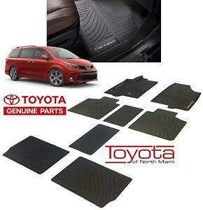 2013 2018 Sienna Floor Mats Rubber All Weather Mats Toyota Oem New 8pc Set Black