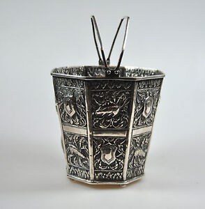 Antique Chinese Export Solid Silver Shanghai Animal Ice Bucket Zodiac China 1900