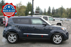 Fit 2014 19 Kia Soul Stainless Steel Flat Body Side Molding Trim Accent 4pc