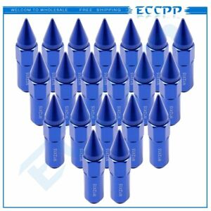 20 Pc M12x1 5 Blue Cap Spiked Extended Tuner Aluminum Lug Nuts For Honda Acura