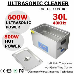 New Stainless Steel 30l Liter Industry Heated Ultrasonic Cleaner Timer Digital H