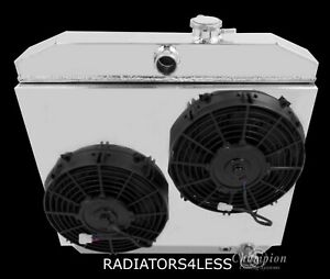 Champion 3 Row Aluminum Radiator W Shroud 10 Fans 55 56 57 Chevy Bel Air V8
