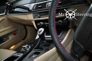 For Bmw 5 E60 03 10 Perforated Leather Steering Wheel Cover Hot Pink Double Stch