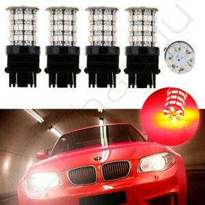 4x 3157 60smd Pure Red Led High Power Tail Brake Stop Light Bulbs 3057 3457