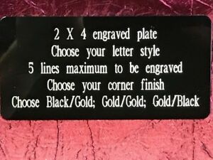 2 x4 Engraved Plate Brass Name Tag Plaque Trophy Artwork Craft Taxidermy
