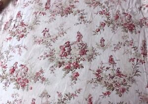 Charming Antique French Or English Country Children S Cotton Toile Fabric C1890