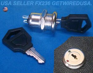 Flush Mount 12 volt Dc On Off Lock 2 Key Round Toggle Switch 2 pin