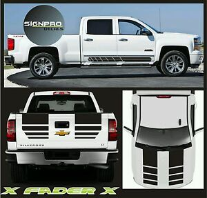New 2014 2016 Chevy Silverado Hood Tail Rally Stripe Decals Graphics X Fader X
