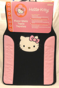 Hello Kitty Embroidered 2 Piece Plush Carpet Automobile Front Floor Mat Set New