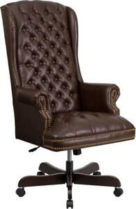 High Back Traditional Tufted Brown Leather Executive Swivel Office Chair ci 360