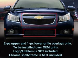 Black Billet Grille Front Combo 3 Pcs Insert For 2011 2014 Chevy Cruze Lt Ltz