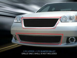 Black Billet Grille Combo Grill Insert For 2006 2007 Chevy Malibu Ss Lt Ls