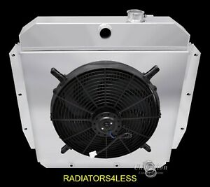Champion 3 Row Aluminum Radiator Shroud 16 Fan 55 56 57 58 59 Chevy Truck Pickup