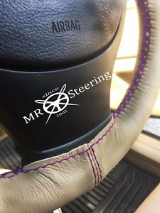 Fits Bmw 3 Series E36 90 Beige Leather Steering Wheel Cover Purple Double Stch