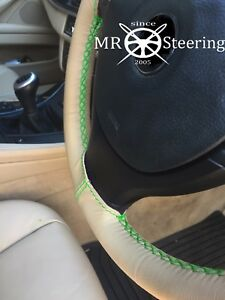 Fits Toyota Prius Mk2 Beige Leather Steering Wheel Cover 03 09 Green Double Stch
