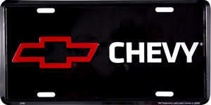 Chevrolet Chevy Red Bow Logo Aluminum Metal Car License Plate Sign Tag