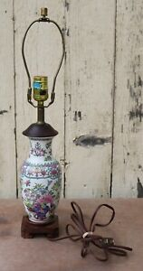 Vintage Chinese Porcelain Ceramic Table Lamp Made In Hong Kong And Working 21 H