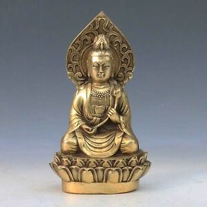 Chinese Antique Brass Hand Carved Guanyin Statue Qing Dynasty