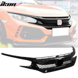 Fits 16 18 Honda Civic Type R Style Sedan Coupe Fk8 Front Bumper Grille Hood Abs