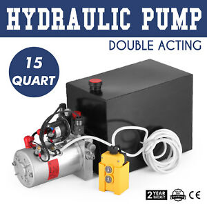 15 Quart Double Acting Hydraulic Pump Dump Trailer Power up Unloading Dc 12v