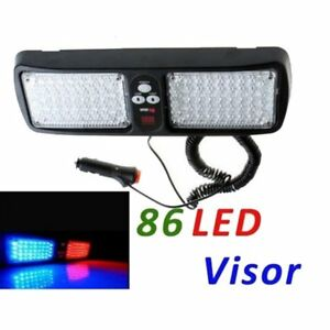 Car 86 Led Red Blue Police Strobe Flash Light Emergency Warning Lamp 12 Mode He