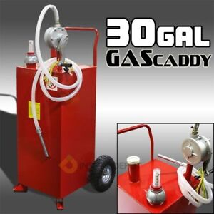 30g Oil Fuel Diesel Dispenser Tank With Pump Gas Storage Cart Wheel