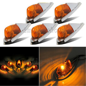 5pc Truck Semi trailer Amber Cab Marker Roof Top Clearance Light For Ford Pickup