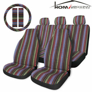 Universal Baja Car Seat Cover 10pc Set W Steering Wheel Cover Seat Belt Cover