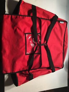 20 X 20 X 12 red Nylon Insulated Pizza Cafe Deli Take Out Delivery Bag