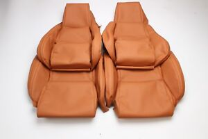 Custom Made 84 88 C4 Corvette Real Leather Seat Covers For Standard Seats Tan