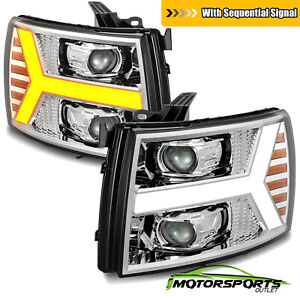 For 2007 2014 Chevy Silverado 1500 2500 3500hd Chrome Factory Style Headlights