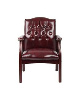 Office Reception Chair Guest Visitors Waiting Room Comfort Side Seat Burgundy