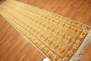 3 6 X 14 1 Signed Runner Kerman Design Hand Knotted 100 Wool Area Rug