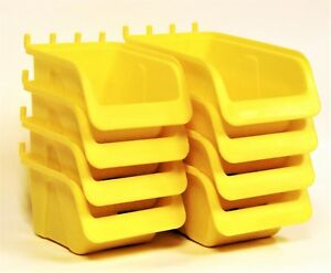 8 New Yellow Parts Storage Bins Hooks To Peg Tool Board Workbench Pegboard