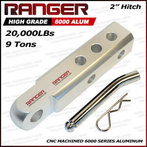 Ranger 2 Aluminum Hitch Receiver 3 4 Shackle Adapter 20 000 Lbs Sliver