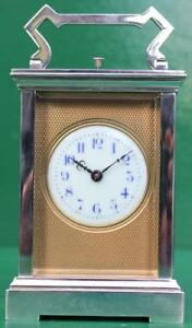 Couaillet Freres French 1920 Art Deco Silver Brass 8 Day Repeater Carriage Clock