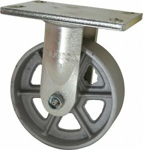 Albion 6 Inch Diameter X 2 Inch Wide Rigid Caster With Top Plate Mount 7 1 2