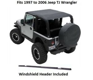 Jeep Extended Bikini Top With Windshield Header For 97 06 Jeep Tj Wrangler