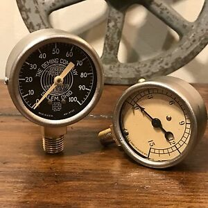 look Lot Of 2 Pressure Gauges Steampunk Antique Us Gauge Motometer