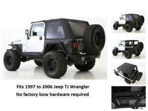 Jeep Bowless Combo Trail Soft Top W Tinted Windows For 97 06 Jeep Tj Wrangler