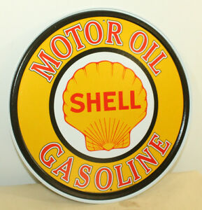 Shell Gasoline Motor Oil Metal 12 Signs Gas Station Advertisement Shop Decor