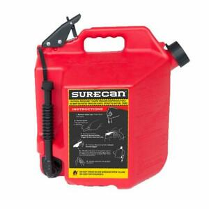 Surecan 5 gallon Red Plastic Gasoline Fuel Can