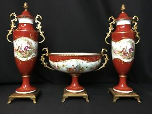 Beautiful Antique French 3 Piece Garniture Set Courtship Scene Raised Gold
