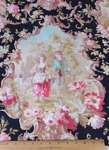Antique French Printed Cotton Romantic Scenic Toile Fabric People