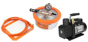 Bvv 2 Qt Stainless Steel Flat Vacuum Chamber And Ve225 4cfm 2 stage Pump Kit