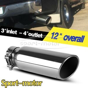 3 Inlet 4 Outlet 12 Long Exhaust Tip Chrome Ss Angle Cut Rolled End Tail Pipe