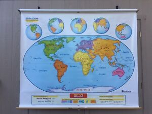 Nystrom Pull Down World Map School Classroom Map 1els99