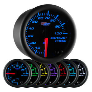 Glowshift Black 7 Color 100 Psi Exhaust Pressure Gauge Gs c723_100